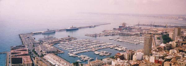 Alicante Harbour with the Saga Rose.